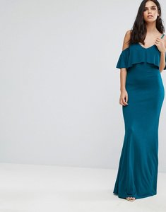 Read more about Club l cold shoulder overlay frill detail maxi dress - blue