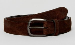 Read more about Asos leather slim belt in brown with vintage brushed look - brown