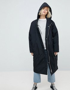 Read more about Weekday longline parka with side popper detail - black