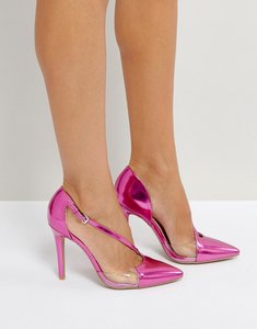 Read more about Qupid asymmetric vinyl metallic point high heels - pink metallic