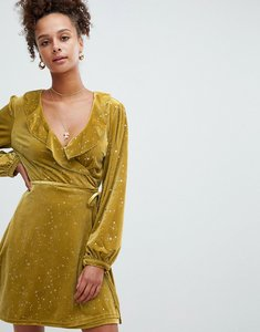 Read more about Glamorous velvet ruffle wrap dress in star print - chartreuse gold star
