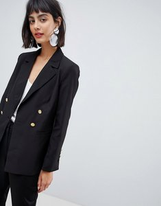 Read more about Unique 21 jersey blazer with gold button detail - black