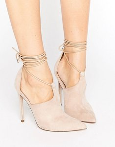 Read more about Asos pandemonium lace up pointed heels - nude