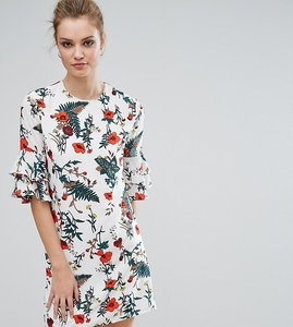 Read more about Fashion union tall floral printed fluted sleeve dress - multi