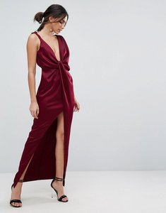 Read more about Asos drape satin maxi dress - oxblood