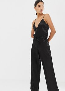 Read more about Missguided satin jumpsuit in black