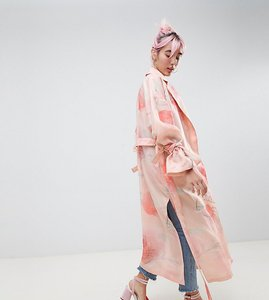 Read more about Hello kitty x asos design trench duster coat in floral print - pink
