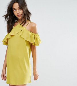 Read more about Missguided ruffle cold shoulder shift dress - chartreuse