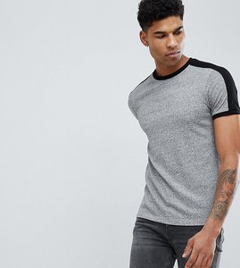 Read more about Asos design tall t-shirt with sleeve cut and sew in twisted jersey in grey - grey