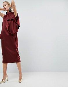 Read more about Asos white satin multi sleeve dress - burgundy