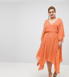 Read more about Asos curve flutter sleeve midi dress with hanky hem in glitter spot - orange