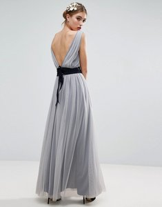 Read more about Asos wedding mesh maxi dress with navy ribbon strapping detail - blue