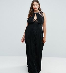 Read more about Tfnc plus high neck embellished maxi dress with lace insert - black
