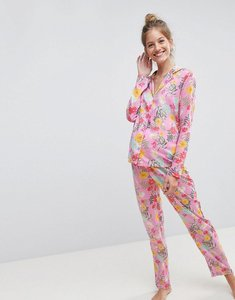 Read more about Asos maternity bright floral 100 modal traditional shirt trouser pyjama set - multi
