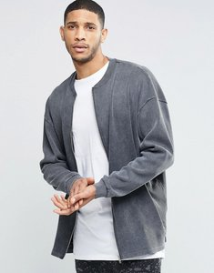 Read more about Asos oversized longline ribbed jersey bomber jacket with acid wash - grey
