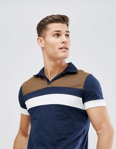 Read more about Asos polo shirt with retro colour block yoke and revere collar - navy
