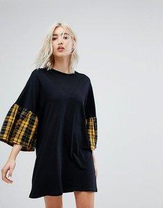 Read more about Bershka check sleeve tee dress - black
