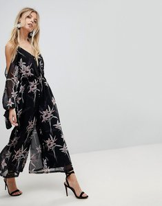 Read more about Asos jumpsuit with cold shoulder in dark floral print - multi