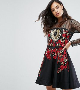 Read more about A star is born rose embroided mini skater dress - black multi