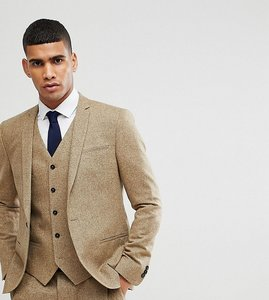 Read more about Noak skinny wedding suit jacket in fleck - stone