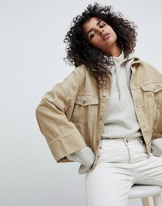Read more about Weekday contrast stitch crop jacket - beige