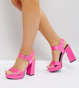 Read more about Asos hearts wide fit platform sandals - pink