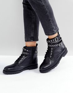 Read more about Park lane studded leather hiker boots - black leather