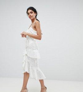 Read more about True decadence tall premium asymmetric ruffle lace midi skirt - white
