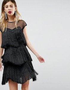 Read more about Asos ultimate fringe layered mini dress - black