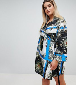 Read more about Asos design curve scarf print wrap mini dress with long sleeves and piping - multi