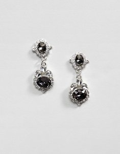 Read more about Johnny loves rosie statement earrings with grey gem detail - grey
