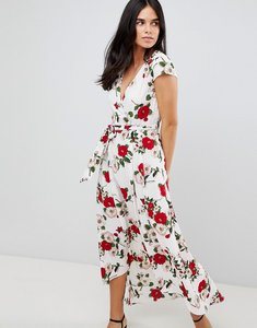 Read more about Ax paris belted hi lo floral midi dress - white