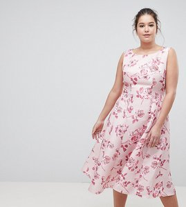 Read more about Chi chi london plus fit and flare midi dress with seam detail in floral print - pink multi