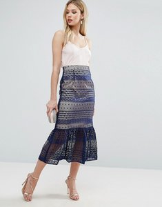 Read more about Asos pencil skirt with lace and pep hem detail - multi