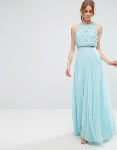 9a6b8dc60a3f50 Read more about Asos 3d cluster embellished crop top maxi dress - ice blue