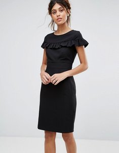 Read more about Closet london cap sleeve midi dress with frill detail - black