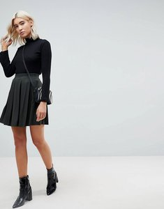 Read more about Asos mini skater skirt with box pleats - forest green