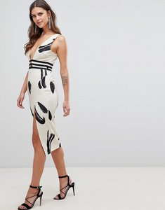 Read more about Asos design smudge print plunge bodycon dress - multi