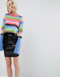 Read more about Asos jumper with multi stripe and fluted sleeves - multi