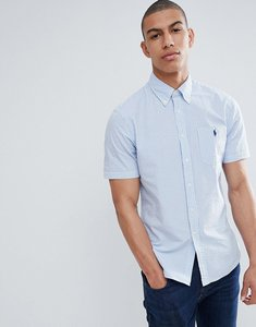 Read more about Polo ralph lauren short sleeve seersucker shirt with player logo in blue white stripe - blue white