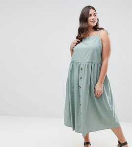 Read more about Asos curve midi button through sundress - green