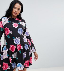 Read more about Praslin floral skater dress with trumpet sleeve - black rose placement