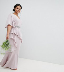 Read more about Asos design curve bridesmaid ruffle flutter sleeve maxi dress with embellished belt - mink