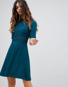 Read more about Oasis lace insert skater dress - teal