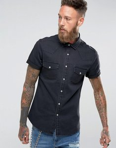 Read more about Asos stretch slim denim shirt with western styling in black - black