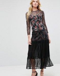Read more about Asos premium lace insert pleated maxi dress in ditsy print - multi