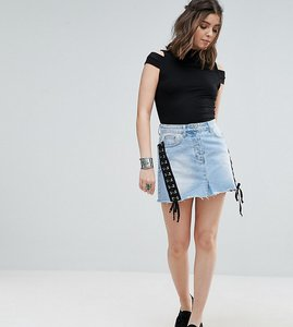 Read more about Glamorous petite mini denim skirt with lace up detail - denim