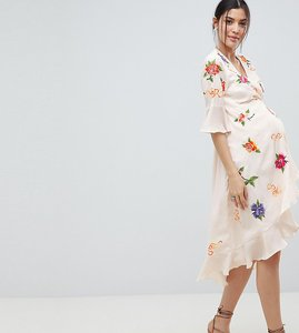 57b94b327b4b2 Read more about Asos design maternity embroidered wrap midi dress - multi