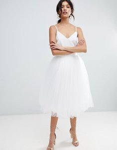 Read more about Little mistress midi tulle prom skirt - white