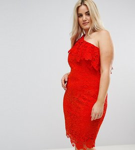Read more about Paper dolls plus one shoulder crochet lace dress - tomato red